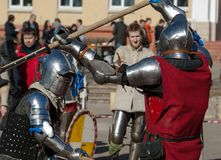 Axes battle Stock Image