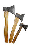 Axes big large medium small wooden handle working vintage isolat Royalty Free Stock Photos