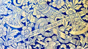 Axes and flowers pattern. Blue pattern from thailand Royalty Free Stock Photo