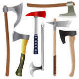 Axes set. Set of different axes, modern and ancient.   objects Royalty Free Stock Photos