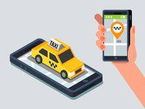 Axi cab and mobile application. Yellow taxi cab and mobile application in phone. Vector illustration Royalty Free Stock Photos