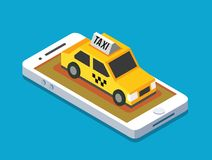 Axi cab and mobile. Yellow taxi cab and mobile phone. Vector illustration Royalty Free Stock Photos