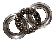 Axial ball bearing. Stainless steel axial ball bearing isolated on a white backgraund Stock Photography