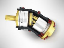 Axial piston hydraulic engine is gold in front 3d render on gray. Background Royalty Free Stock Image