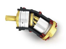 Axial piston hydraulic engine is gold in front 3d render on whit. E background Royalty Free Stock Photos