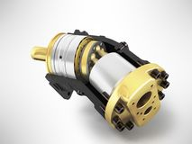 Axial piston hydraulic motor 3d render on gray background. Axial piston hydraulic motor 3d render on gray Royalty Free Stock Image