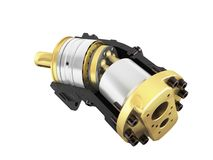 Axial piston hydraulic motor 3d render on white background no sh. Adow Royalty Free Stock Image
