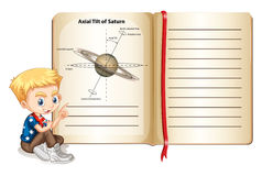 Axial tilt of saturn on page Stock Images