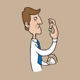 Axiety man som tar preventivpilleren Arkivfoton