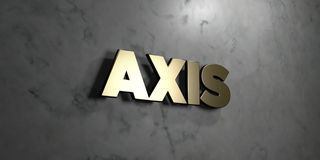 Axis - Gold sign mounted on glossy marble wall  - 3D rendered royalty free stock illustration. This image can be used for an online website banner ad or a Royalty Free Stock Photo