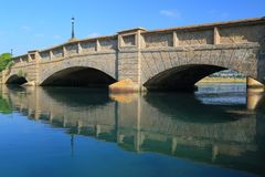 Axmouth Bridge in East Devon. Is the oldest concrete bridge in Britain, built over the River Axe in 1877 royalty free stock image
