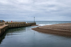 Axmouth harbor entrance Royalty Free Stock Images