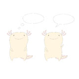 Axolotls with speech bubbles. Hand drawn vector illustration of two cute funny axolotls standing, one waving, in soft colours, with empty speech balloons Stock Images