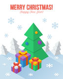 Axonometric Christmas greeting card in flat style Stock Photo