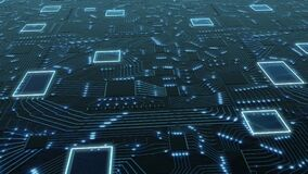 Axonometric Sci-Fi digital blue background, printed circuit board with chips and electronic signals 3d render binary
