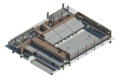 Axonometric view of the sport hall. Render: Axonometric view of the multifunctional building Royalty Free Stock Image