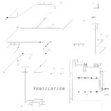 Axonometric view of the ventilation system. Vector design for HVAC. The ducts on the plan. Stock Images