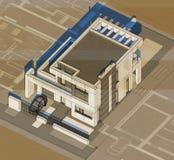 Axonometry του σύγχρονου κτηρίου Στοκ Εικόνες