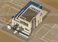 Axonometry του σύγχρονου κτηρίου Στοκ φωτογραφία με δικαίωμα ελεύθερης χρήσης