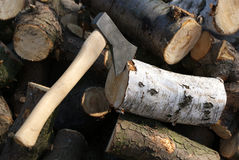 Axt für den Schnitt des Holzes stockbilder