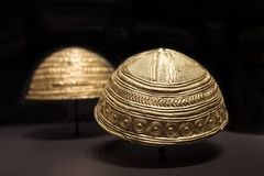 Axtroki Golden bowls dated at Late Bronze Age. Madrid, Spain - November 10th, 2017: Axtroki Golden bowls dated at Late Bronze Age. National Archaeological Museum Stock Image
