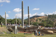 Axum, Ethiopia, Africa. AXUM, ETHIOPIA - NOVEMBER 30, 2014: People visiting the ancient steles of Axum during the Hidar Zion Ceremony on November 30, 2014 in Royalty Free Stock Image