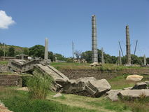 Axum Stelae. Collapsed and standing stelae at Axum, Ethiopia Stock Images