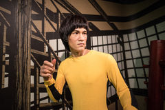 Waxwork of Bruce Lee on display at Madame Tussaud royalty free stock photos