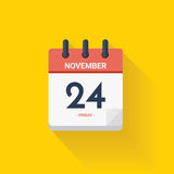 Ay calendar with date November 24, 2017. Vector illustration. Vector illustration. Day calendar with date November 24, 2017. Thanksgiving concept. Yellow Royalty Free Stock Photo