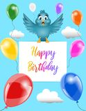 Funny happy birthday card with cartoon bird and balloons stock illustration