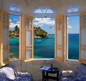 ay mediterranian förbise fönster för seashore tre Royaltyfri Foto