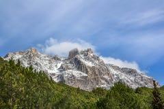 Ay Petri mountain in the snow. Ay Petri mountain in the blue sky Royalty Free Stock Photo