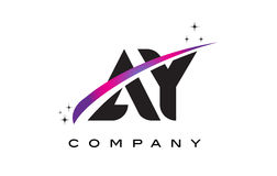 AY A Y Black Letter Logo Design with Purple Magenta Swoosh Royalty Free Stock Images