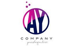 AY A Y Circle Letter Logo Design with Purple Dots Bubbles Stock Image