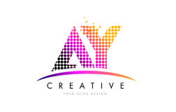 AY A Y Letter Logo Design with Magenta Dots and Swoosh Stock Images