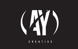 AY A Y White Letter Logo Design with Black Background. Stock Photo