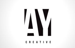 AY A Y White Letter Logo Design with Black Square. Stock Photos