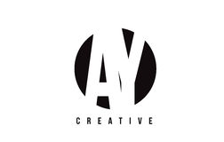 AY A Y White Letter Logo Design with Circle Background. Royalty Free Stock Images