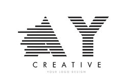 AY A Y Zebra Letter Logo Design with Black and White Stripes Royalty Free Stock Images
