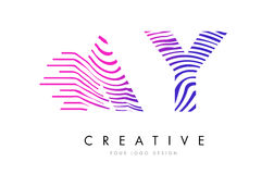 AY A Y Zebra Lines Letter Logo Design with Magenta Colors Stock Image