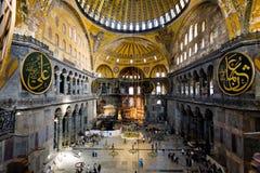 Aya索菲娅-古老拜占庭式的大教堂内部  免版税库存图片