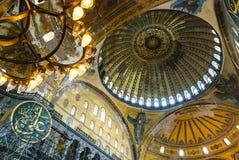 Aya索非亚清真寺内部圆顶绘画 库存照片