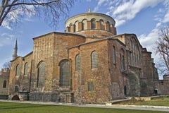 Aya Irini church. JAN 20, 2014, ISTANBUL, TURKEY - Historical church Aya Irini (Hagia Eirene) or the Holy Pease on the territory of Dolmabahce palace royalty free stock images