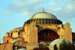 Aya Sofia on the background of blue sky. Turkey Istanbul. An ancient monument, museum royalty free stock images