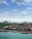 Aya Sofia and Blue Mosque. View over Aya Sofia and Blue Mosque from Galata tower, Istanbul stock photo