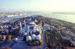 Aya Sofia. And Istanbul panorama aerial view stock images