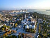 Aya Sofia. And Istanbul panorama aerial view stock photo