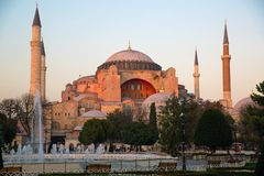 Aya Sofia, Istanbul, Turkey. Beautiful color of sunset. Sultanahmet square royalty free stock images