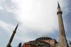 Aya Sofia Minarets Stock Photo