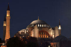 Aya sofia mosque I. A night time view of the Aya Sofia Mosque stock image